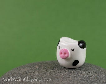 Little Cow - Miniature Terrarium Figurine - Hand Sculpted Miniature Polymer Clay Animal