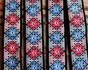 Vintage Cotton Trim, Pink Blue Trim, 60s Trim, Pillow Trim, Bell Bottoms Trim, Hippie Trim, Boho Trim, Up Cycle Sewing Trim,  Funky Trim
