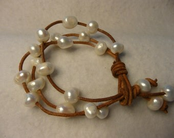 Handmade Freshwater Pearl and Leather Cord Bracelet