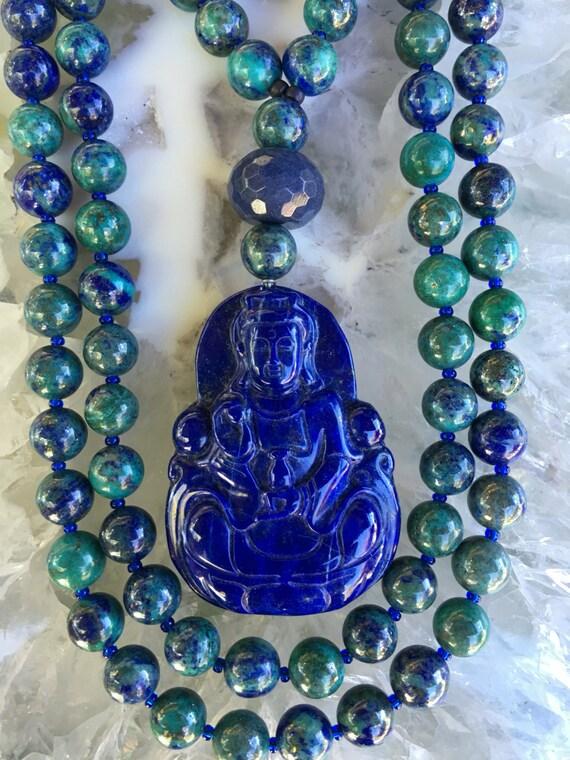 Chrysocolla and lapis lazuli Mala/Prayer Beads