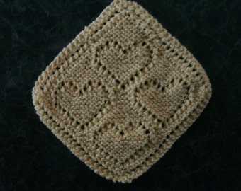 Hand Knit Yellow Dishcloth - measures approximately 9x9 from point to point