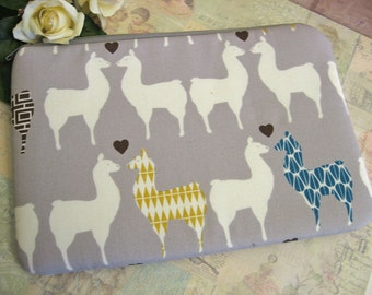 Llama love on grey /  ipad mini cover  /farm /  ipad mini case/ padded pouch / llama bag / llama zipper bag