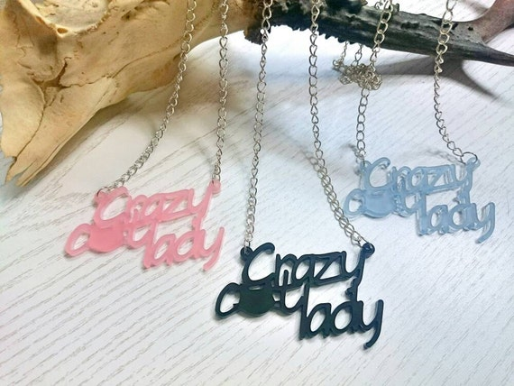 Crazy Cat Lady Necklace, Gift For Cat Lover, Best Friend Present, Acrylic Necklace, Birthday Gift For Sister, Pet Lover