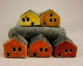 5 Saggar Fired Miniature House Beads...Sunset