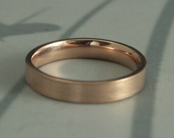 4mm Gold Band--Comfort Fit Flat Band--Gold Wedding Ring--Gold Wedding Band--Modern Wedding Ring--Men's Gold Band--Men's Gold Ring