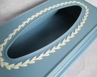 Vintage Tissue Box Cover Fesco Mayfair Jasperware Blue in box