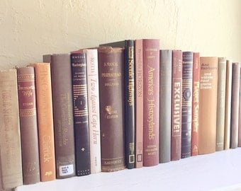 Large Set of Vintage Books for Home Decor in Neutral Colors Tan Brown Beige Lot 19