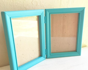 Turquoise Wood Double 5x7 Inch Picture Frame Folding Wooden