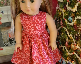 18 inch Doll Clothes - Christmas Dress - Red Gingerbread Dress - RED WHITE - fits American Girl