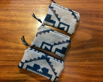 Gift Set of 3 / Organizer Set / Travel Set Wool Tribal Geometric Southwestern Handcrafted Using Fabric from Pendleton Woolen Mill