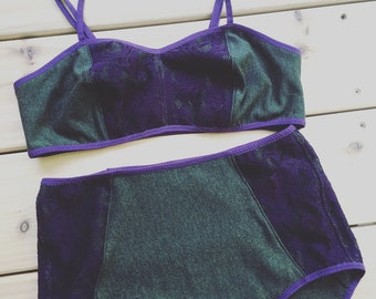 Organic cotton bralette, soft bra in dark green and purple lace, custom underwear shop