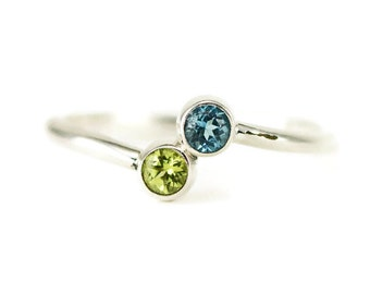 Sterling Birthstone Ring - Mother Daughter Ring - Two Stone Ring - 3mm Gemstones - Pick Your Stones