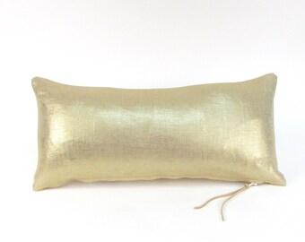 Metallic Gold Linen Pillow ~ Small Gold Pillow ~ Small Linen Pillow ~ Gold Accent Pillow ~ Metallic Gold Lumbar Pillow ~ Shiny Gold Pillow
