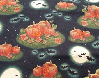 Halloween Fabric Pumpkins at Midnight Fabric Dennis Kendrick & Andrea Brooks Bats Full Moon Fabric Jack O Lanterns Quilt Fabric 2 Yards