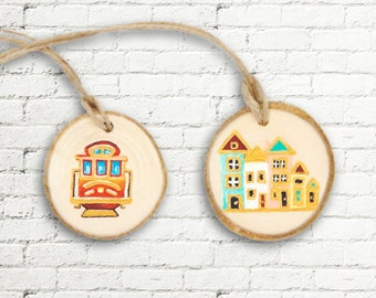 San Francisco Gift Tags, San Francisco Souvenir Tags, Party Favors, Handmade Wood Tags with Twine, Set of 2