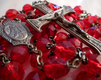 VINTAGE ROSARY Gorgeous Red Glass Beads!!