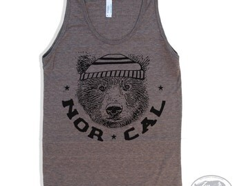Unisex NORCAL Bear Tri-Blend Tank Top american apparel XS S M L XL (6 Colors)