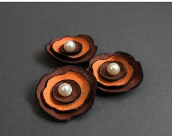 40% OFF Jewelry supplies leather flowers for pendants, necklaces, brooches, shoes clips etc Handmade supplies