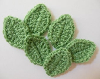 Crocheted Leaves - Fresh Green - Acrylic Yarn - Crocheted Leaf Appliques - Crocheted Leaf Embellishments - Set of 6