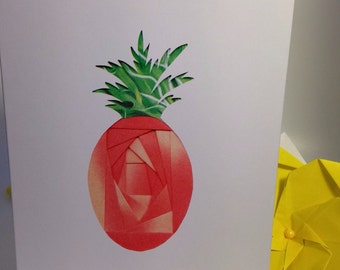 Iris folded scene greeting card (printed) - happy birthday pineapple