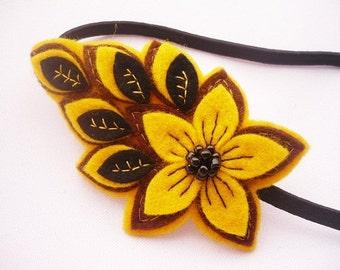 Wool felt headband brown and mustard yellow beaded felt flower women elastic hairband