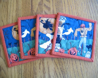 Quilted Coasters in Scarecrows and Ghosts - Set of 4 - 1 Set Only