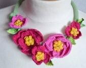 Pink camellia crochet necklace choker flower floral cotton freeform