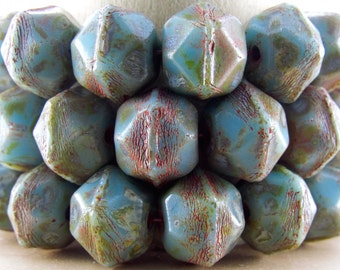 10x9mm Faceted Opaque Blue Turquoise Picasso Vintage Cut Czech Glass Beads - Qty 15 (BS461)