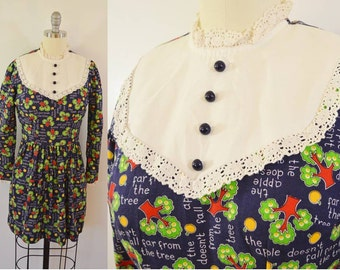 Vintage Long Sleeve Apple Doesn't Fall Far From the Tree Dress Long Sleeve Size Small 1970s