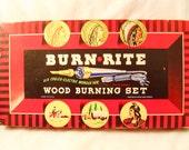Vintage 1950s  Burn Rite wood burning set