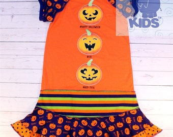 SALE HALLOWEEN- a dress made out of halloween tshirt  funky recycled upcycled  pieced  size  9