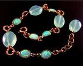 BIGGEST SALE EVER Australian Opal And Aqua Chalcedony Gold Filled Bracelet