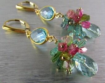 Aqau Blue Quartz with Tourmaline Cluster Gemstone Earrings