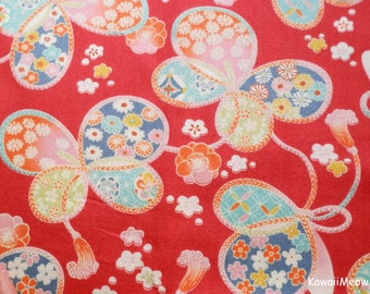 Japanese Kimono Fabric - Sakura Ribbon Butterfly on Red - Half Yard (ki151221)