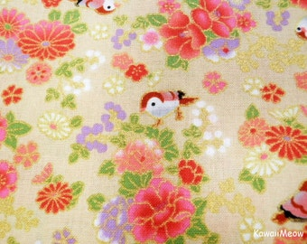 Beautiful Kimono Fabric - Chirp Chirp Sakura on Beige - Half Yard (ta160528)