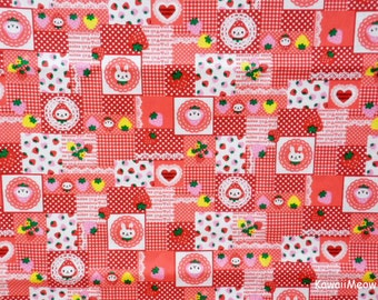 "Scrap / Japanese Fabric - Strawberry Rabbits - 110cm/43""W x 42cm/16.5""L (ho160628)"