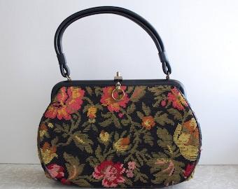 black tapestry purse, black carpet bag handbag, bright floral handbag, tapestry handbag, 60s sixties handbag, midcentury mod victorian