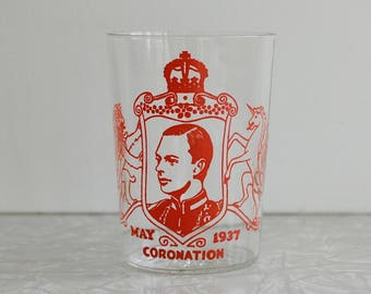 1937 King George VI coronation glass, british royalty souvenir glass, small juice glass, antique english cup, king of england cup, red print