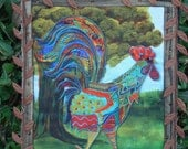 Rooster Quilted Wallhanging Fiber Art