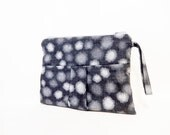 Fabric Handbag, Fabric Wristlet, Fabric Bag, Pleated Wristlet, Purse, Handbag, Bag, Clutch, Spring Bag, Gift for Her, Grey Shadow Dots