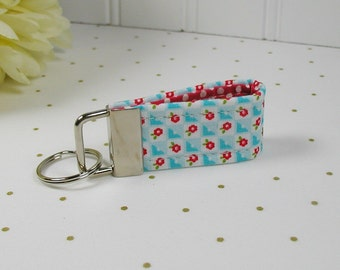 Mini Key Fob, Fabric Key Fob .. Bloom and Bliss Check in Blue