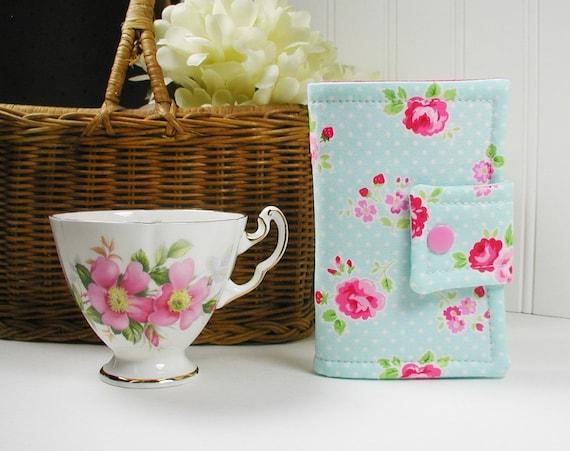 Tea Wallet Tea Bag Case Tea Pouch Garden Floral In Aqua