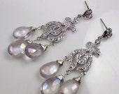 CUPID SALE xOx Wedding Chandelier Earrings Lavender Mystic Quartz Wire Wrapped Post Diamond Pave Look Lavender Bridal Chandelier Earrings