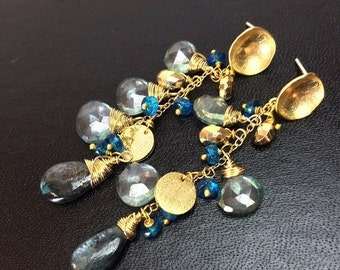 50% OFF SALE Teal Blue Green Dangle Earrings Gemstone Kyanite, Gold Pyrite Wire Wrapped Long Dangle Post Earrings