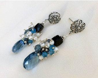 BLACK FRIDAY SALE Blue Cluster Earrings London Blue Black Spinel Pearl Cluster Earrings Wire Wrapped Multigem Post Earrings Blue Gemstone Da