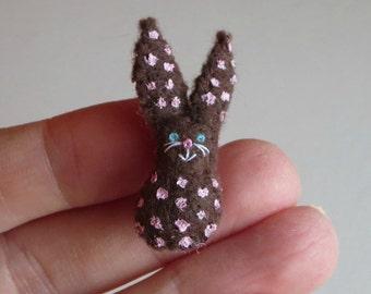 Bunny Rabbit miniature felt stuffed plush toy - brown with pink polka dots