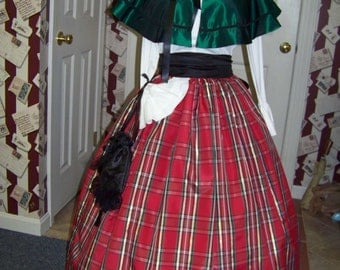 Dickens Christmas Long Skirt and Black Sash one size fit all Green,Black, Gold and Red plaid Taffeta Handmade