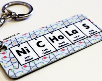 Chemistry/Periodic Table of Elements/Science Keychain, ring - Geek Nerd Breaking Bad Science - Personalized, Custom Name - Science Gift