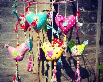 Happy Colourful Heart and Bird Mobile, Bird Mobile, Heart Mobile, Nursery Bird Mobile