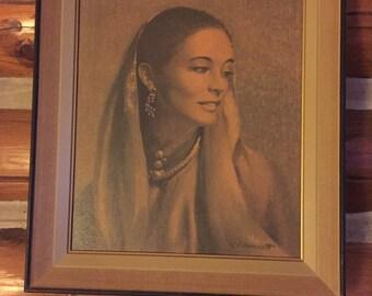 "Shara Print by Harnett 1958 Vintage 17"" x 14"" Wood Frame"
